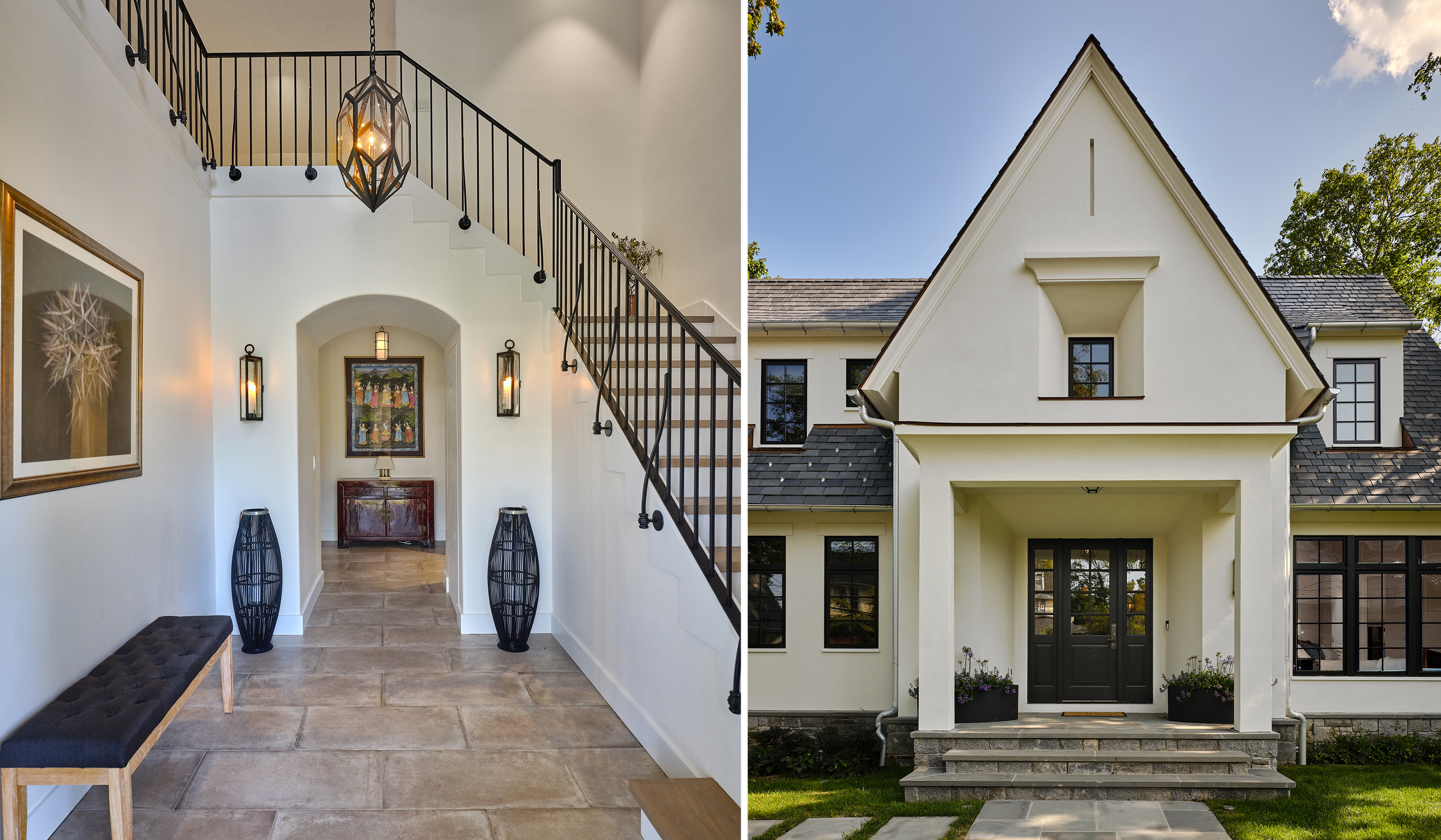 Larchmont NY custom stucco cottage grand foyer entry stair by custom luxury waterfront architect