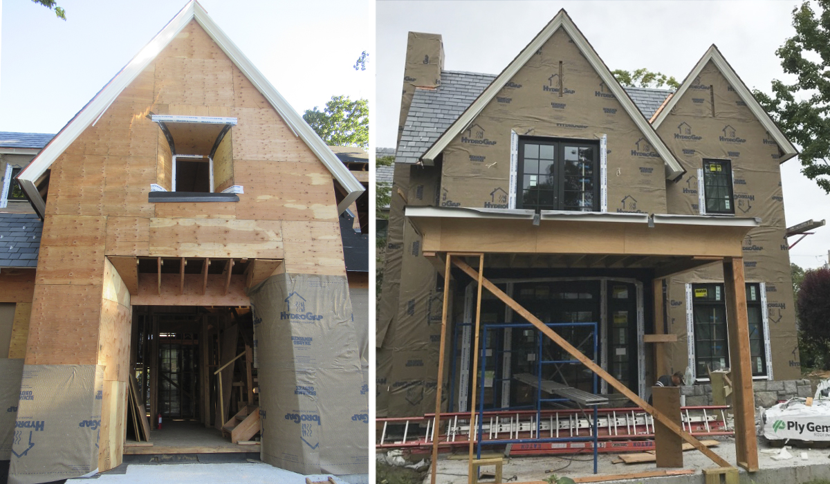 New Home in Larchmont NY Under Construction with Stucco siding Custom Luxury home design under construction