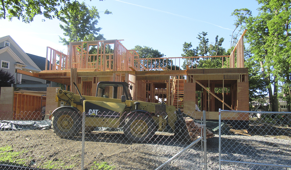 Larchmont Stucco Cottage Framing Under Construction