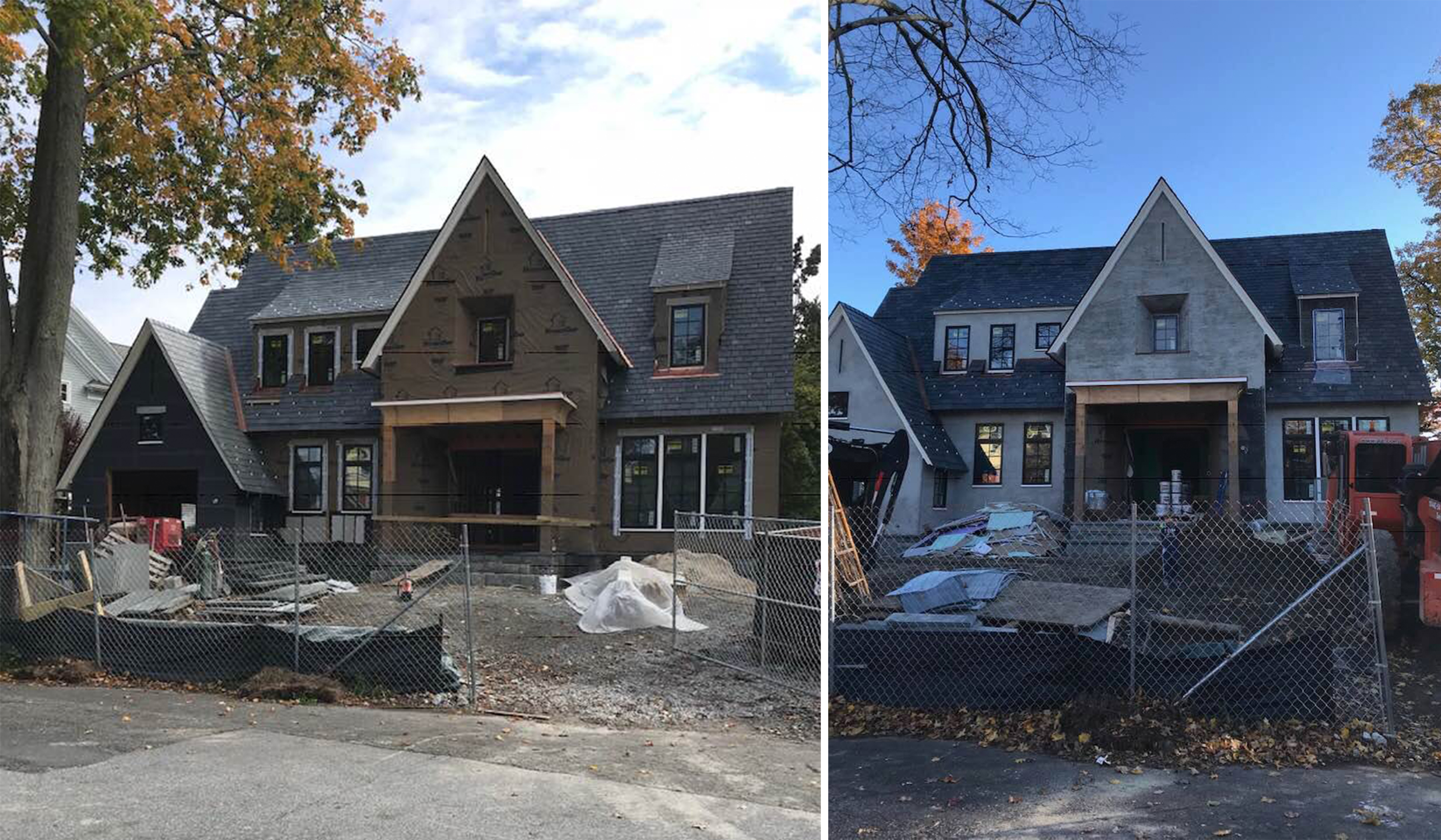 Larchmont stucco cottage construction progress on new custom home front elevation designed by luxury custom architect