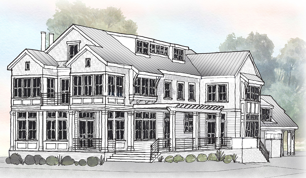Norwalk connecticut luxury home design of waterfront home by award winning cusotm home residential architect hand sketch rendering for design process