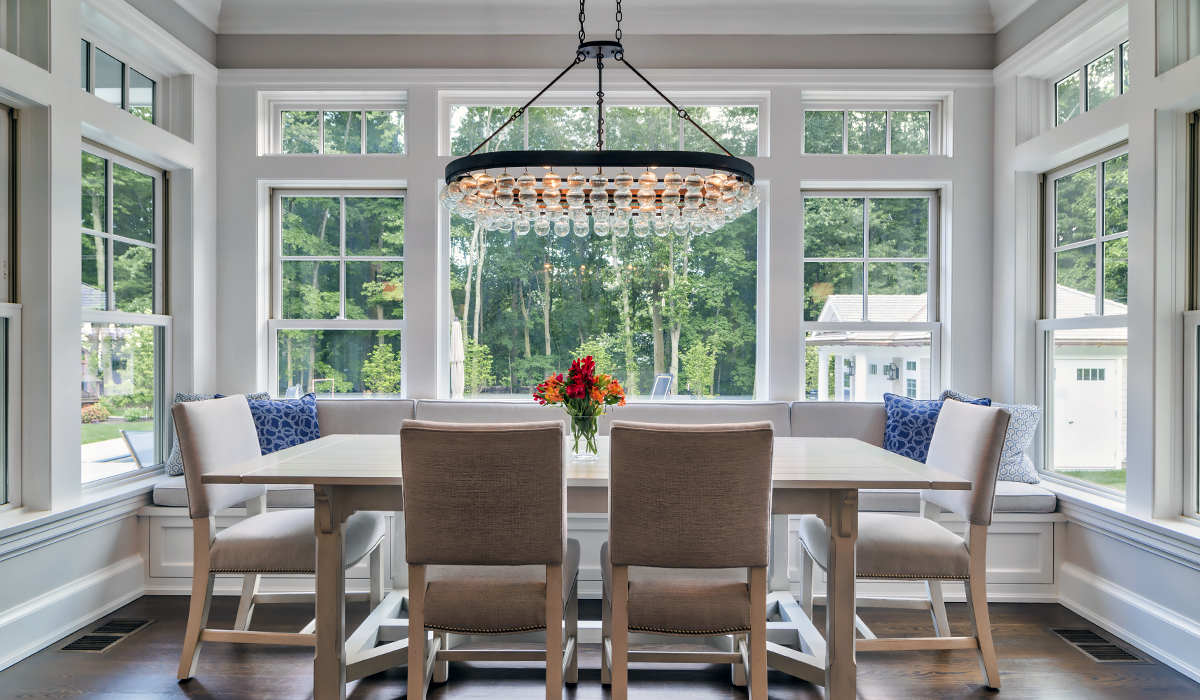 custom breakfast nook in luxury shingle style home in New Canaan Connecticut by Cardello Architects