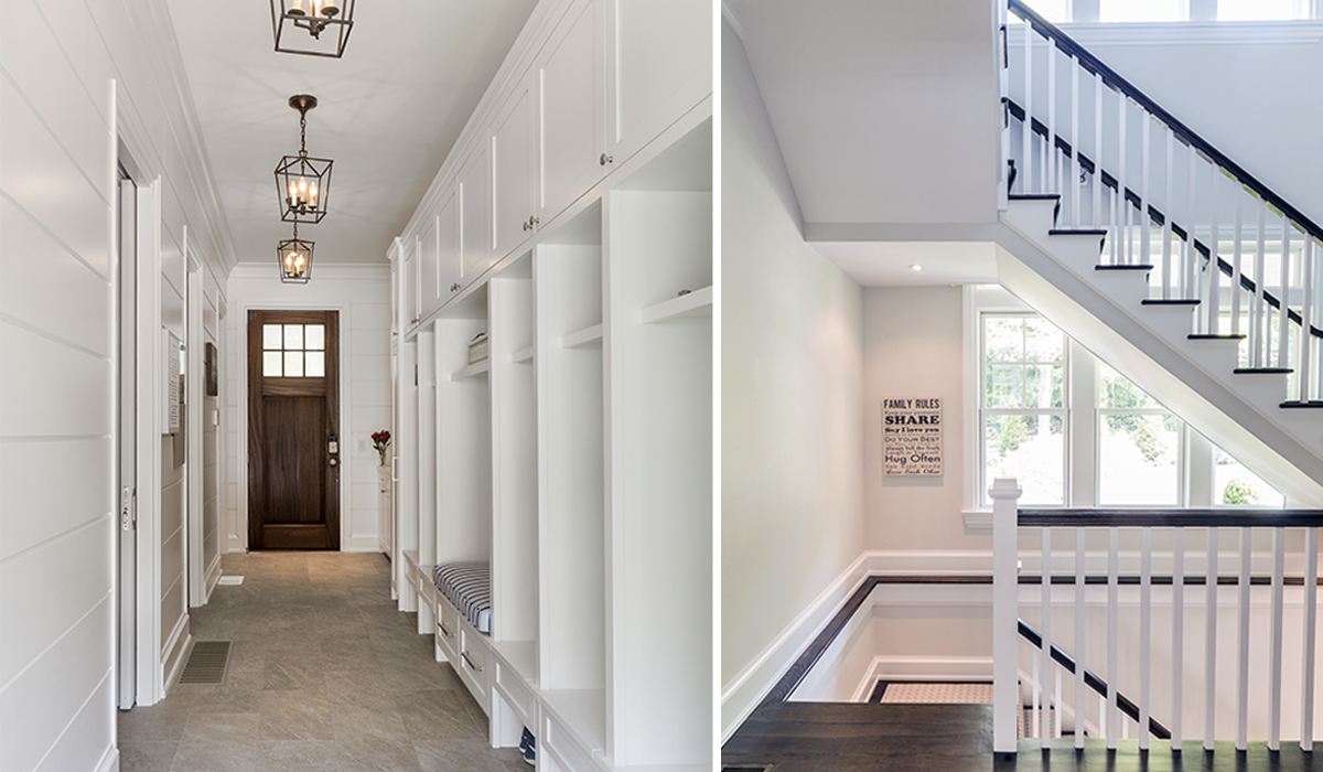 custom mudroom in luxury shingle style home in New Canaan Connecticut by Cardello Architects