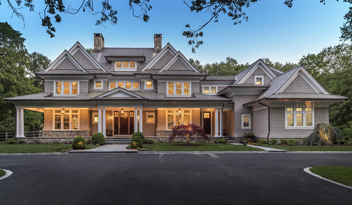 custom luxury shingle style home in New Canaan Connecticut by Cardello Architects