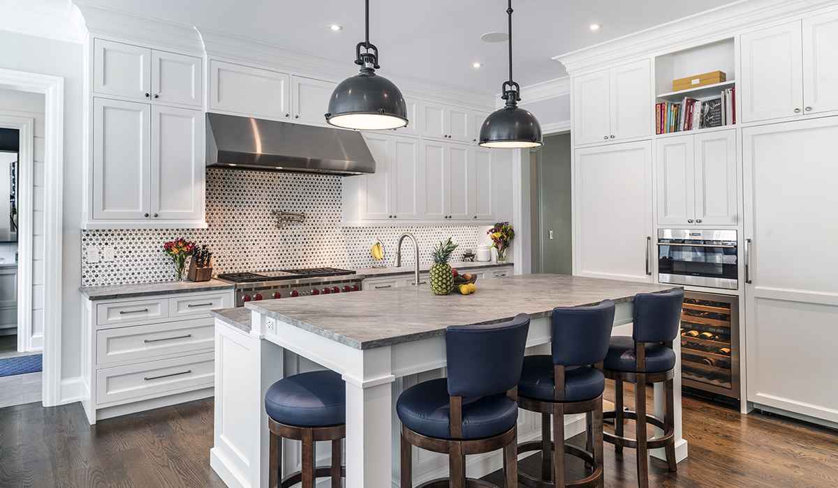 custom kitchen in luxury shingle style home in New Canaan Connecticut by Cardello Architects