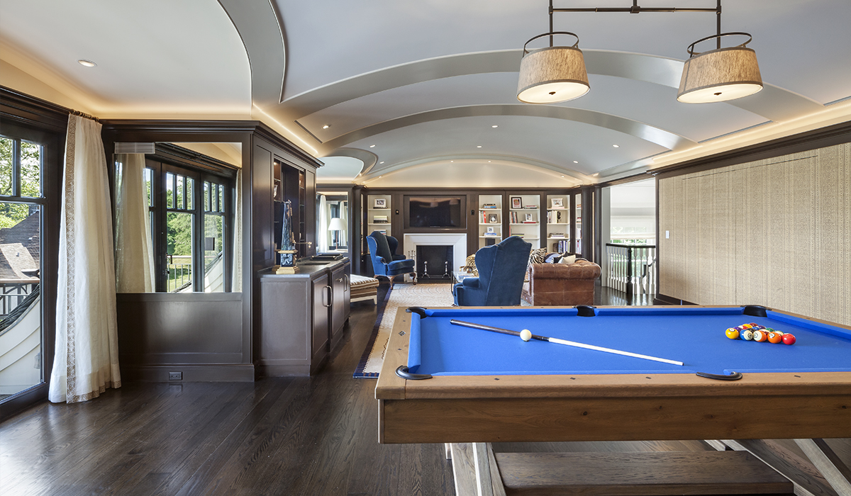 Barel vaulted ceilings in custom home renovation by luxury architect