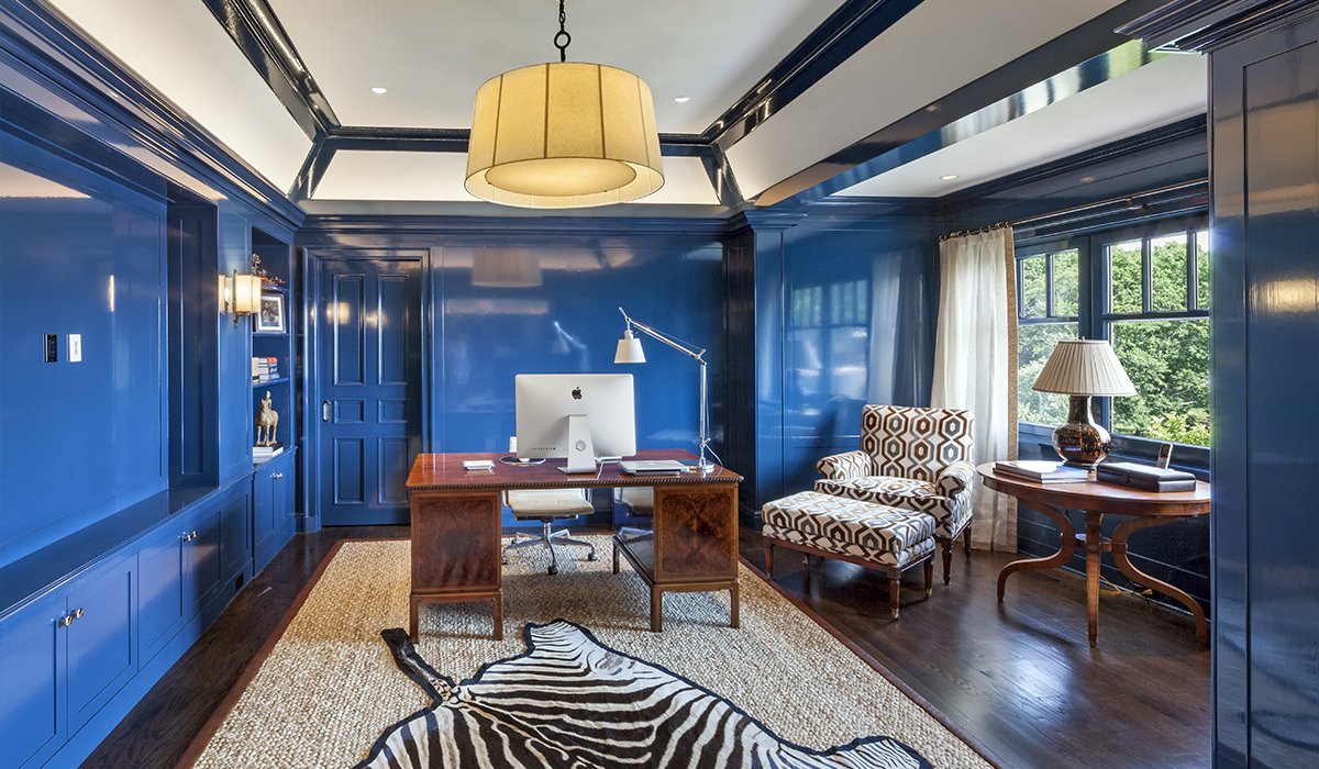home office in attic of custom waterfront home