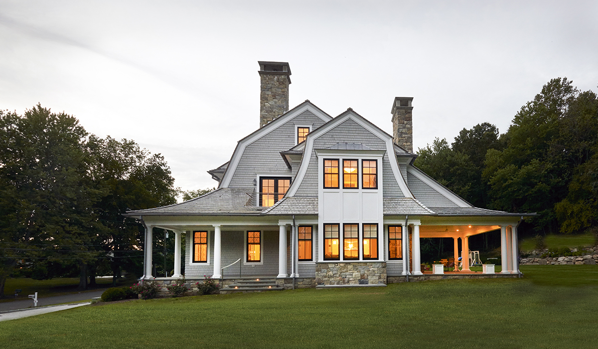 custom shingle style gambrel house with covered porch by cardello architects