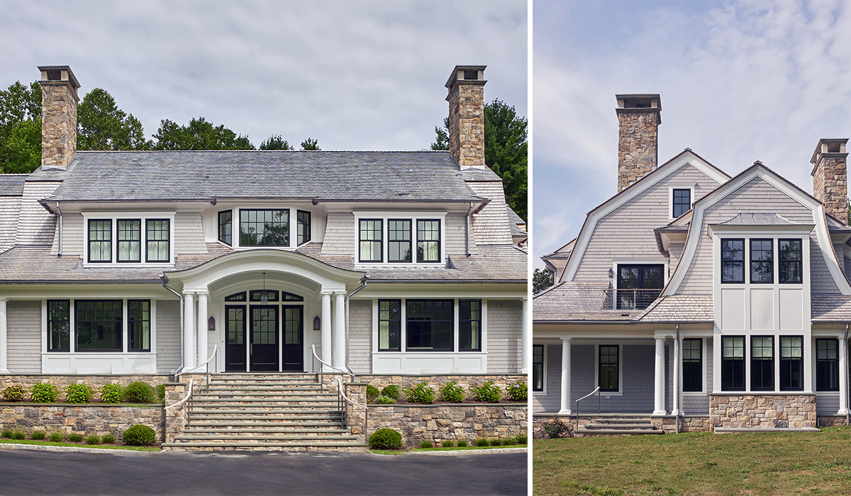 shingel style cusotm exteriro details on luxury gambrel by Robert A. Cardello architects