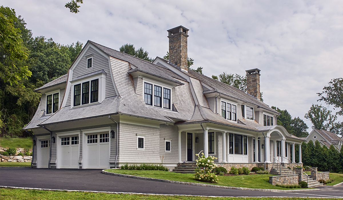custom shingle style gambrel by darien,CT with front porch by cardello architects
