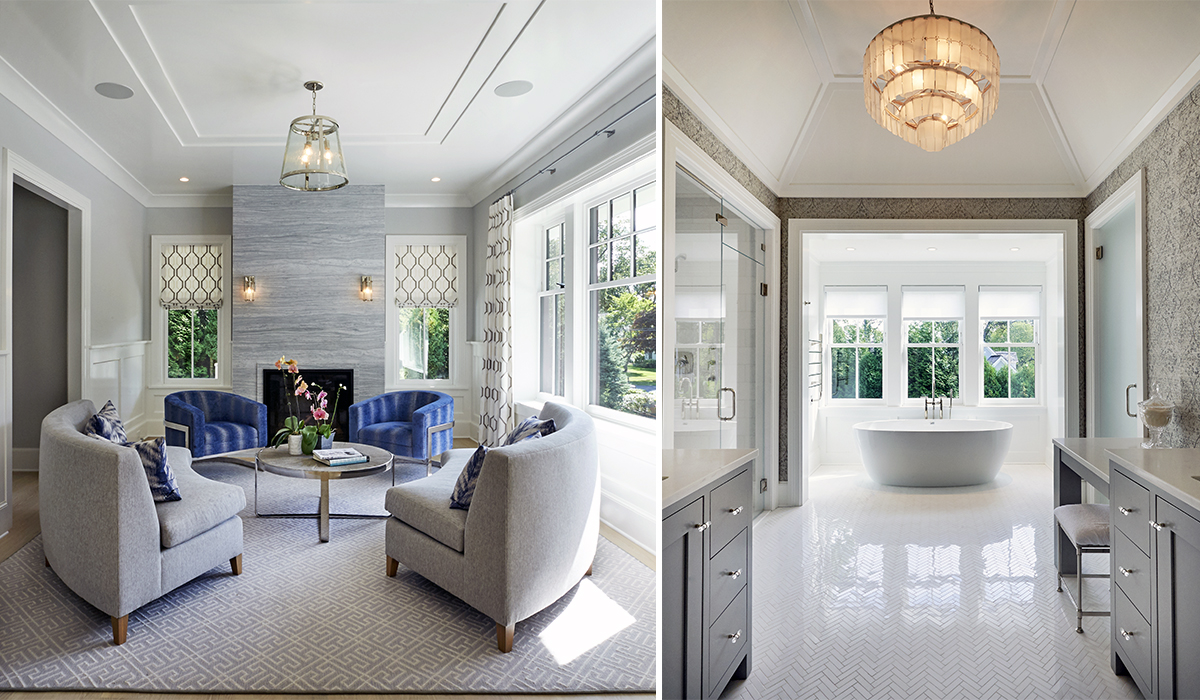 transitional interiors in custom shingle style gambrel house by cardello architects