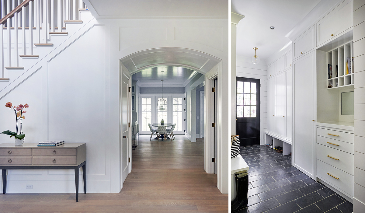 shingle style cambrel with transitional inteiors and foyer by cardello architects