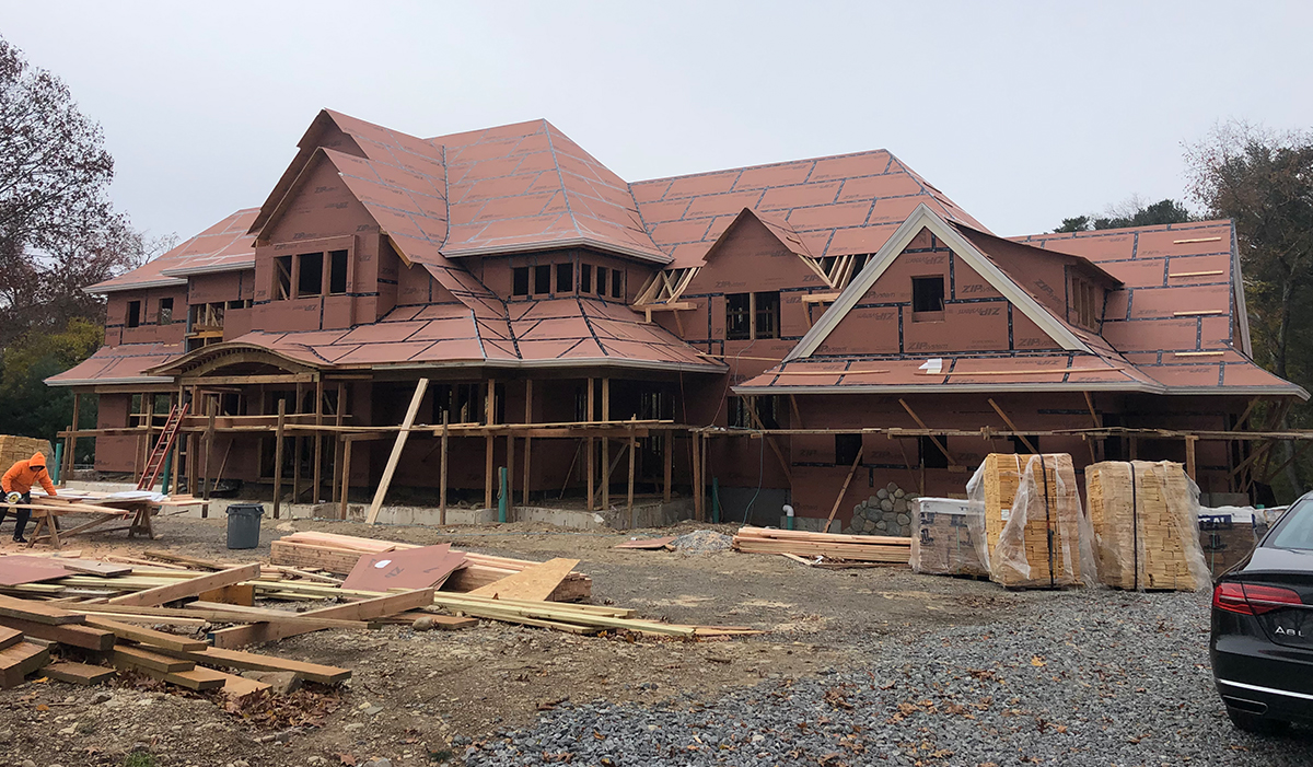 shinge style home in westport Connecticut under construction