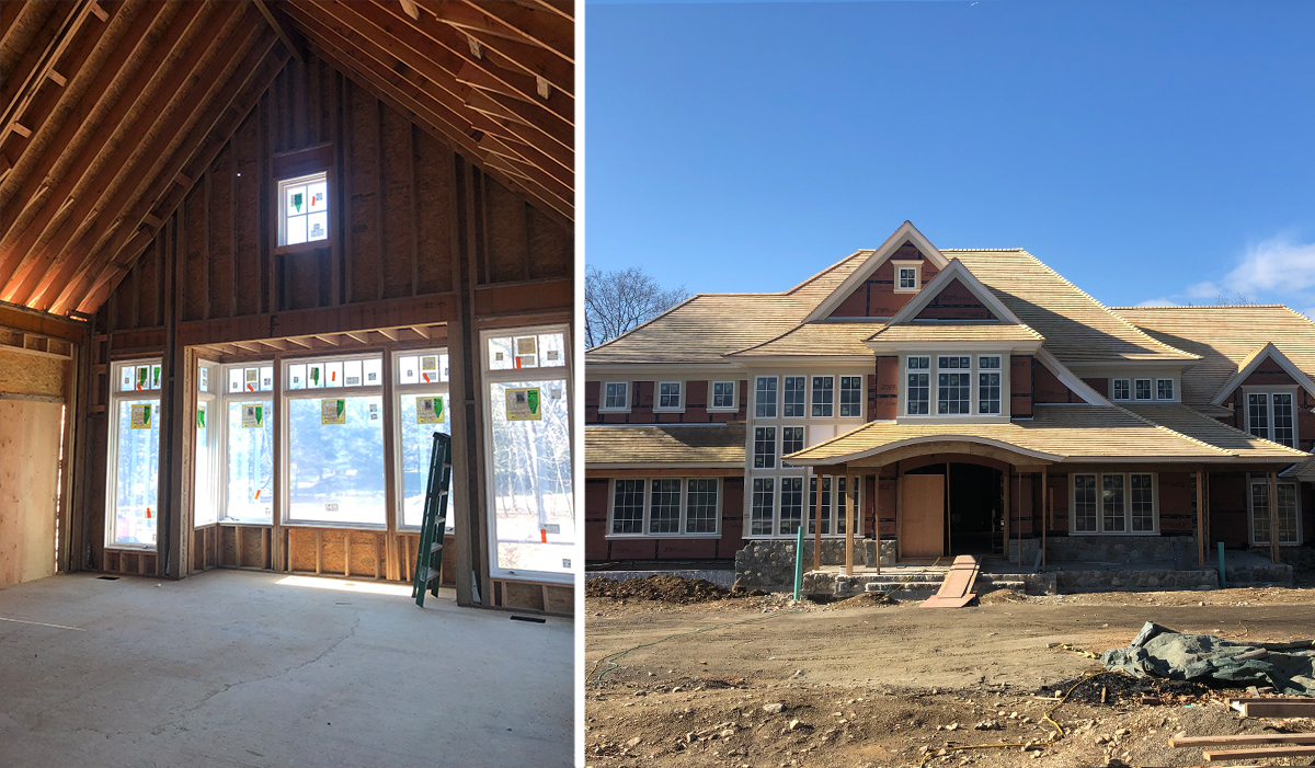 Westport Connecticut shingle style home under construction