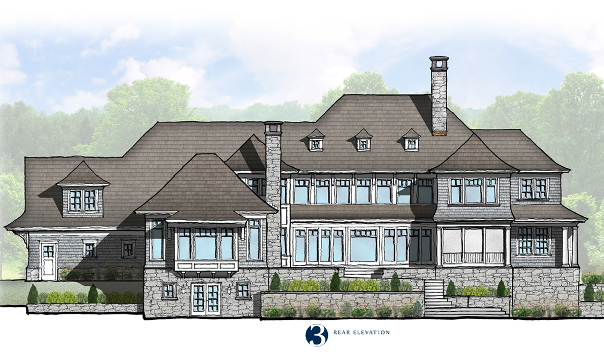 Westport Connecticut Shingle Style House Hand Sketch Rendering