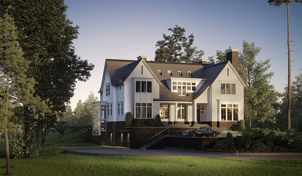 Transitional Farmhouse Dusk 3D Rendering of Greenwich home