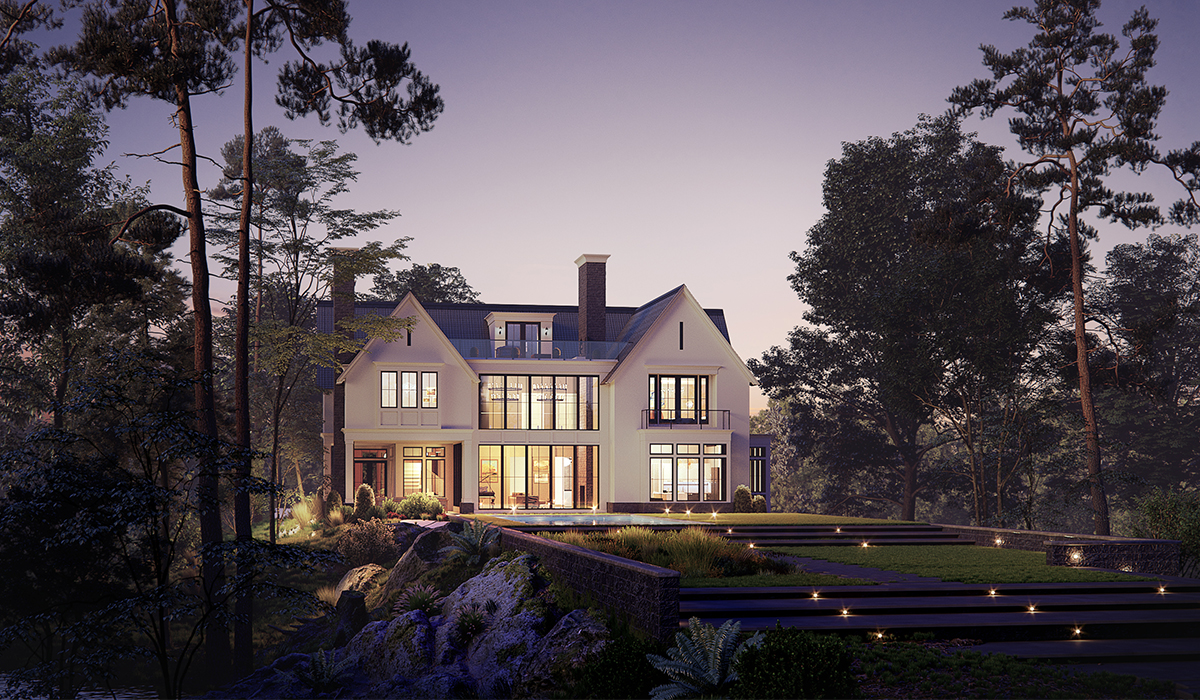 Transitional Farmhouse Dusk 3D Rendering of Greenwich home by luxury custom home architect
