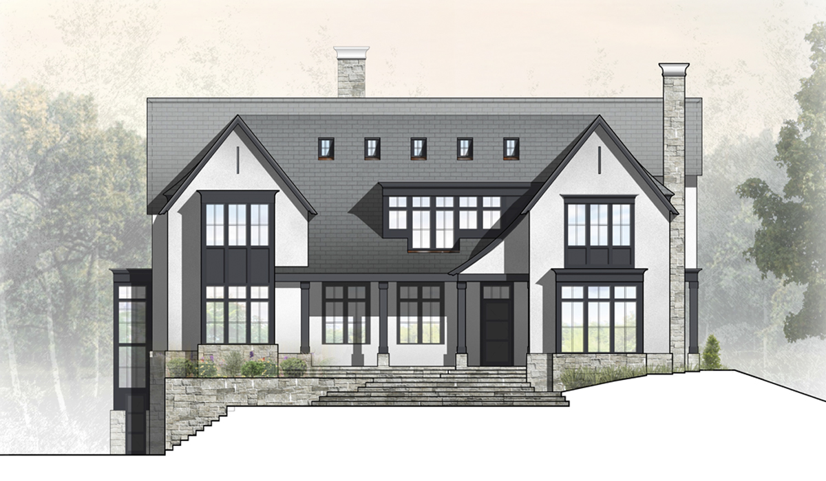 Transitional Farmhouse Rendered Front Elevation of Greenwich Home