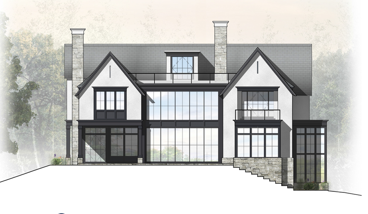 Transitional Farmhouse Rendered Elevation of Greenwich Home