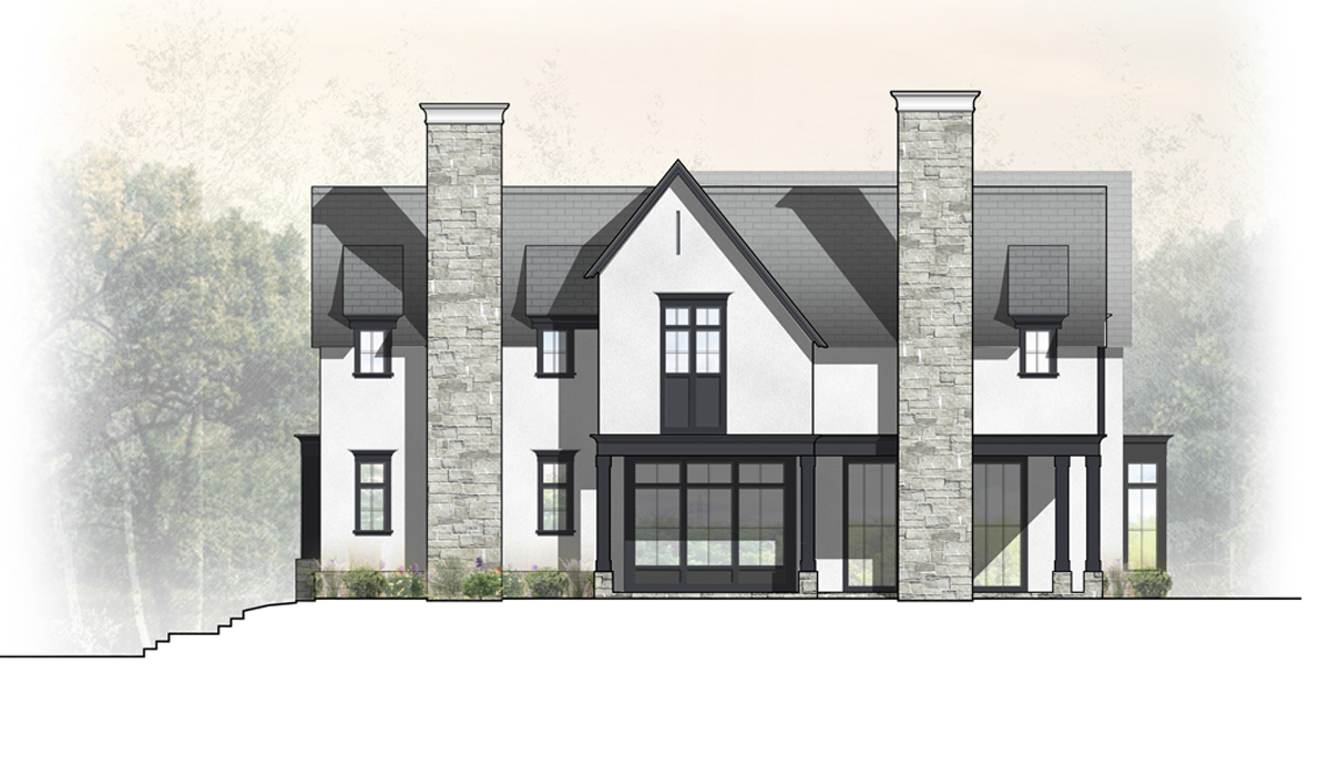 Transitional Farmhouse Rendered Side Elevation of Greenwich Home
