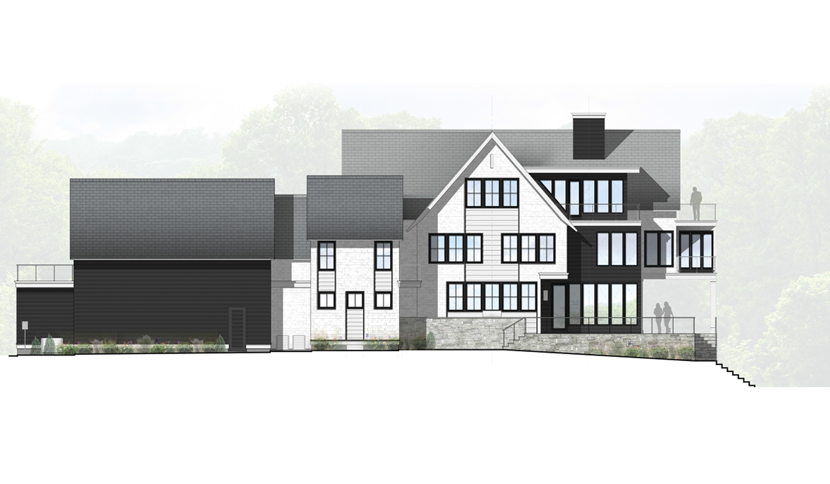 Rowayton Modern Waterfront Farmhouse Rendered Exterior Side Elevation