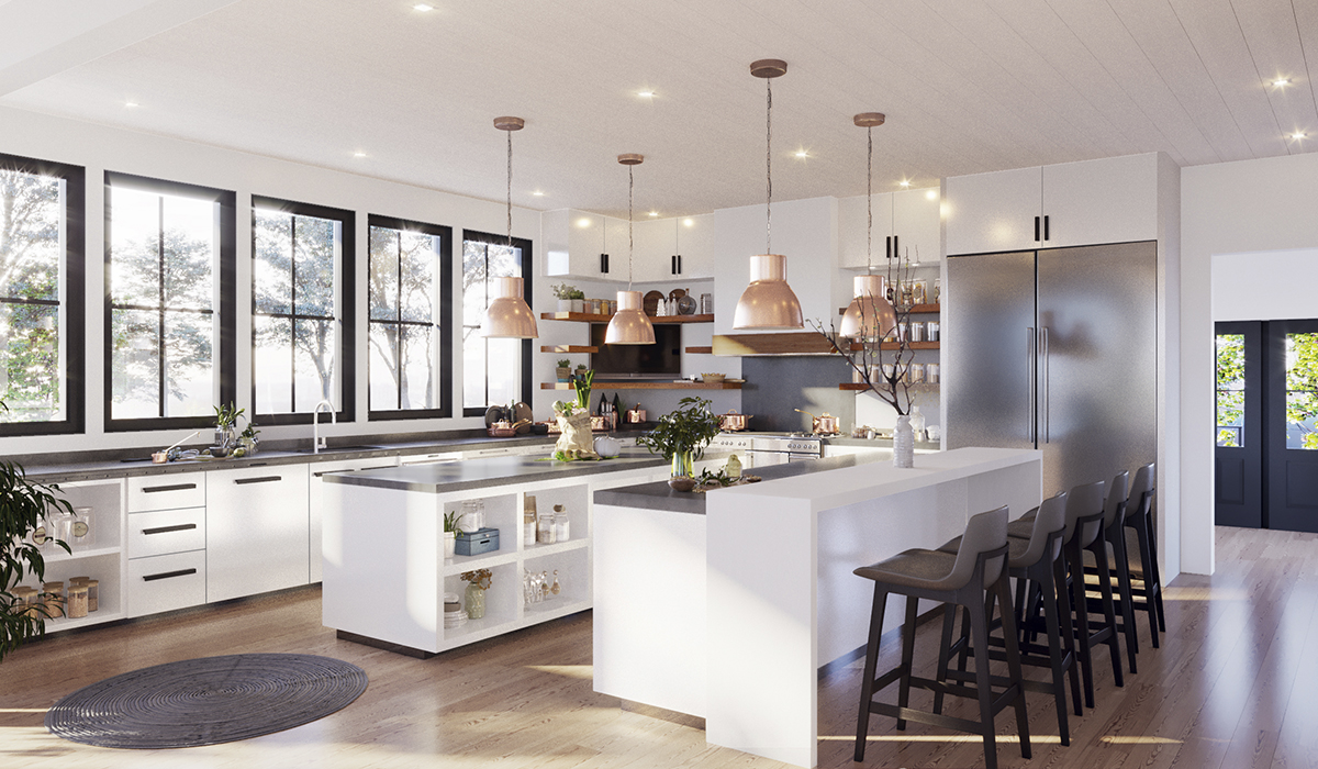 Rowayton Modern Farmhouse Interior Kitchen Rendering