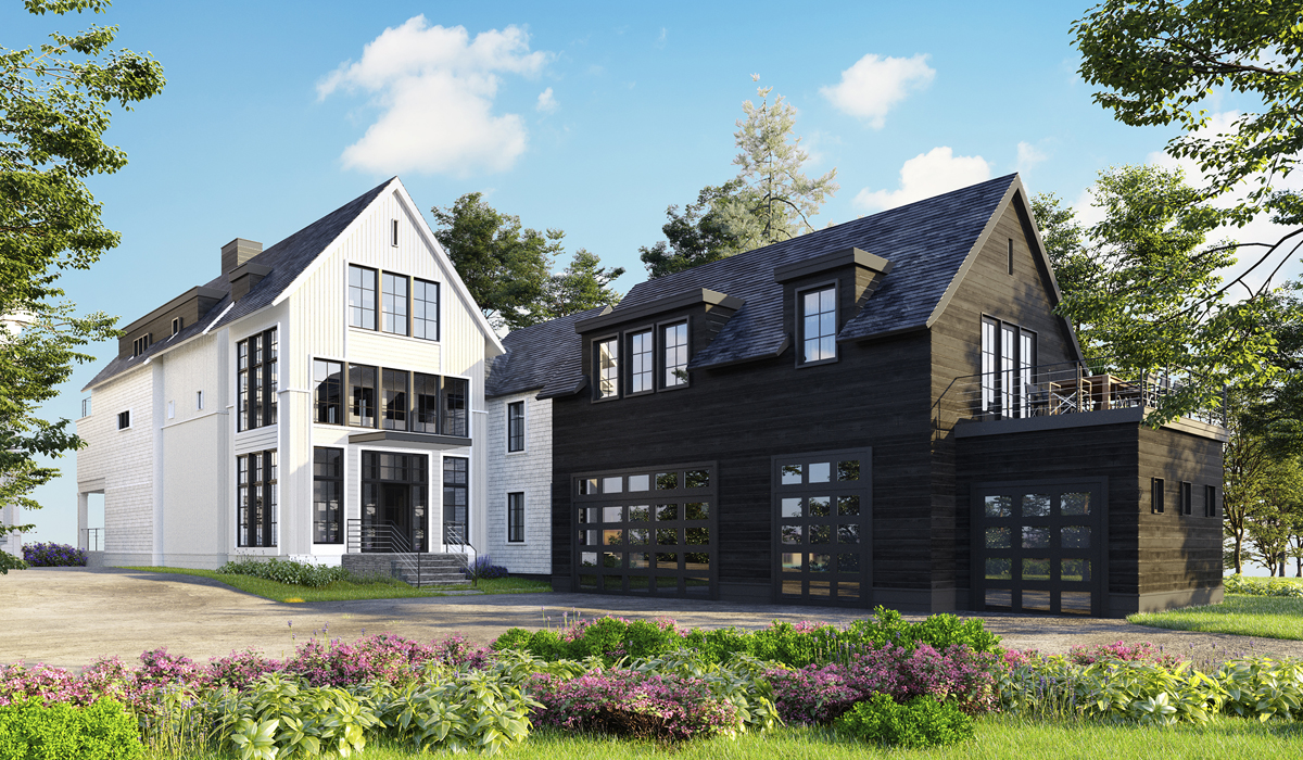 Transitional farmhouse rendered elevations rowayton modern waterfront farmhouse exterior rendering perspective