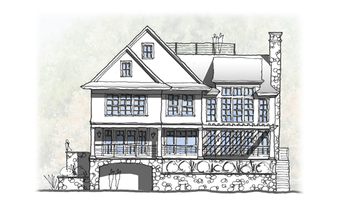 Stamford CT Rear Elevation Hand Sketch Rendered