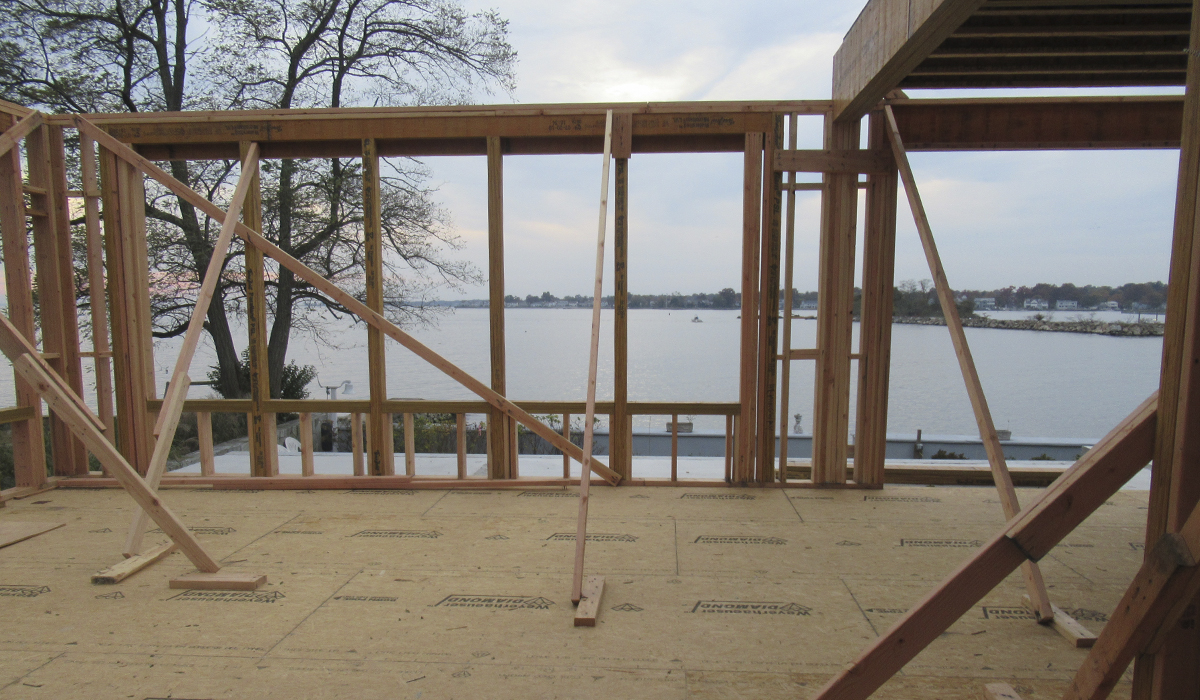 Stamford Connecticut New Waterfront Home Under Construction Framing Marvin Windows
