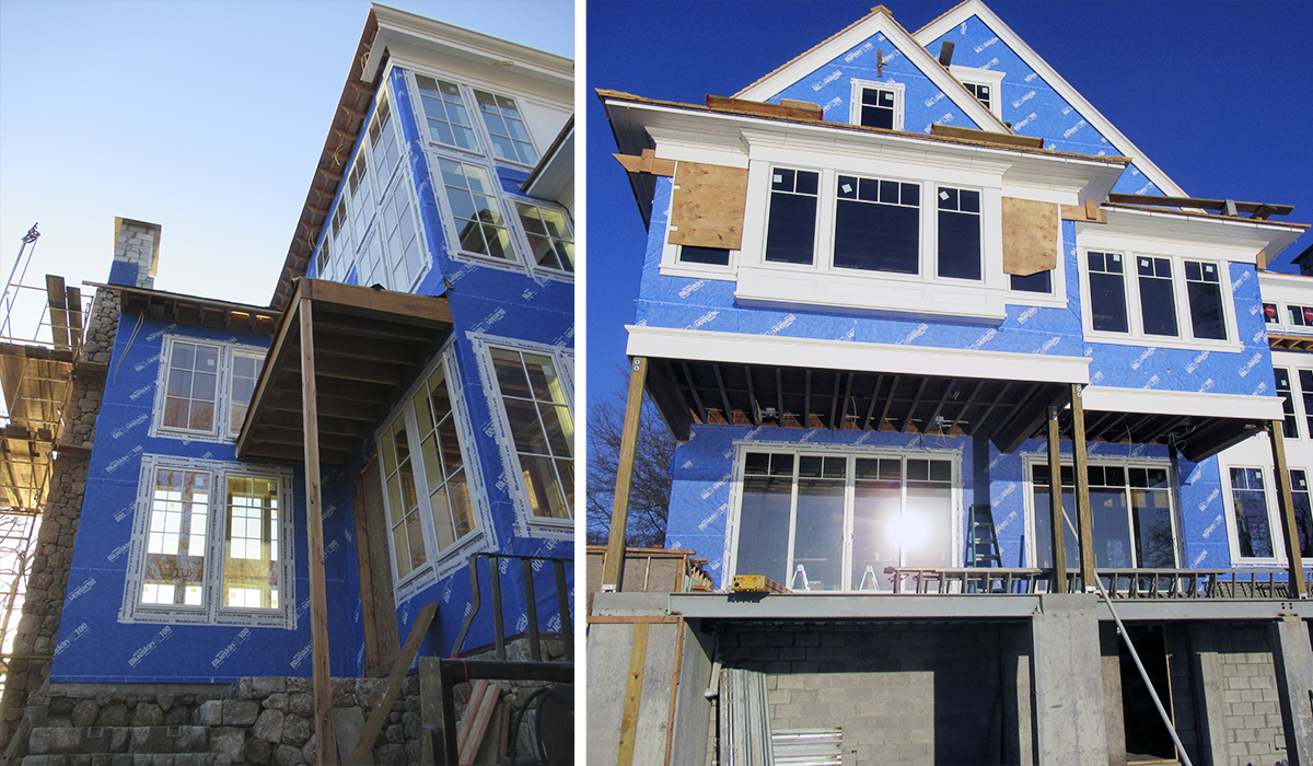 Stamford connecticut new custom waterfront home under construction with installation of Marvin Windows