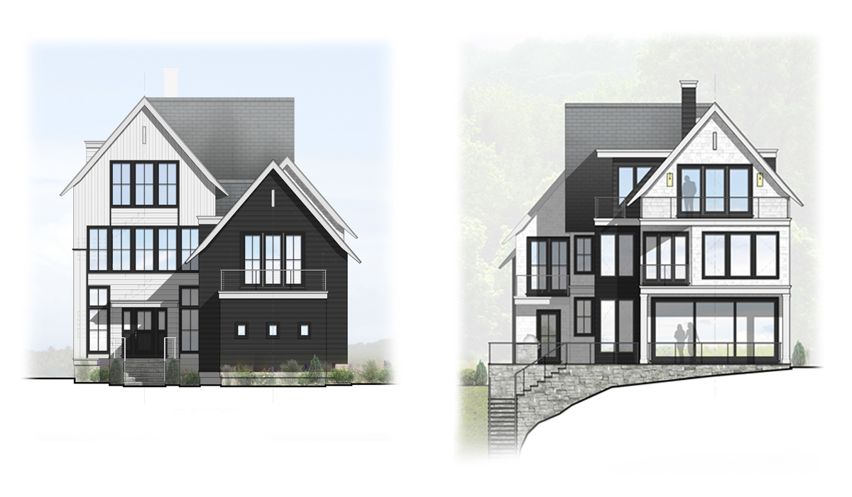 Transitional Farmhouse Rendered Elevations