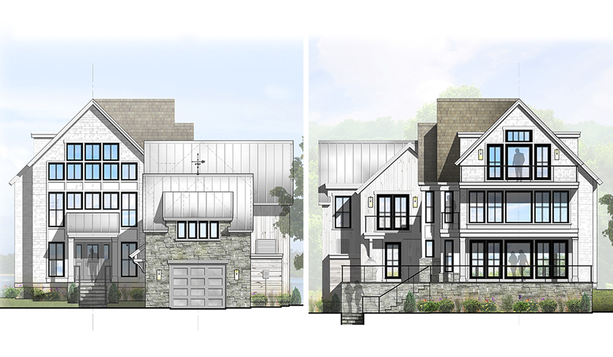 Transitional Waterfront Farmhouse Rendered Exterior Elevations