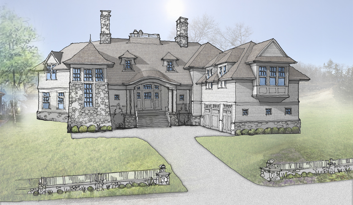 Butterfly Home on Waterfront Property in Darien, CT Rendering