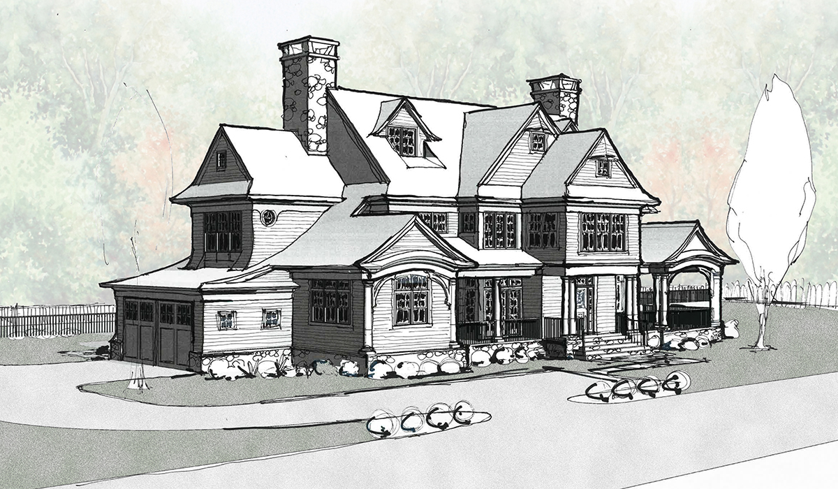 greenwich connecticut ct new house construction shingle style cedar roof custom luxury waterfront home hand rendering by luxury residential archtiect