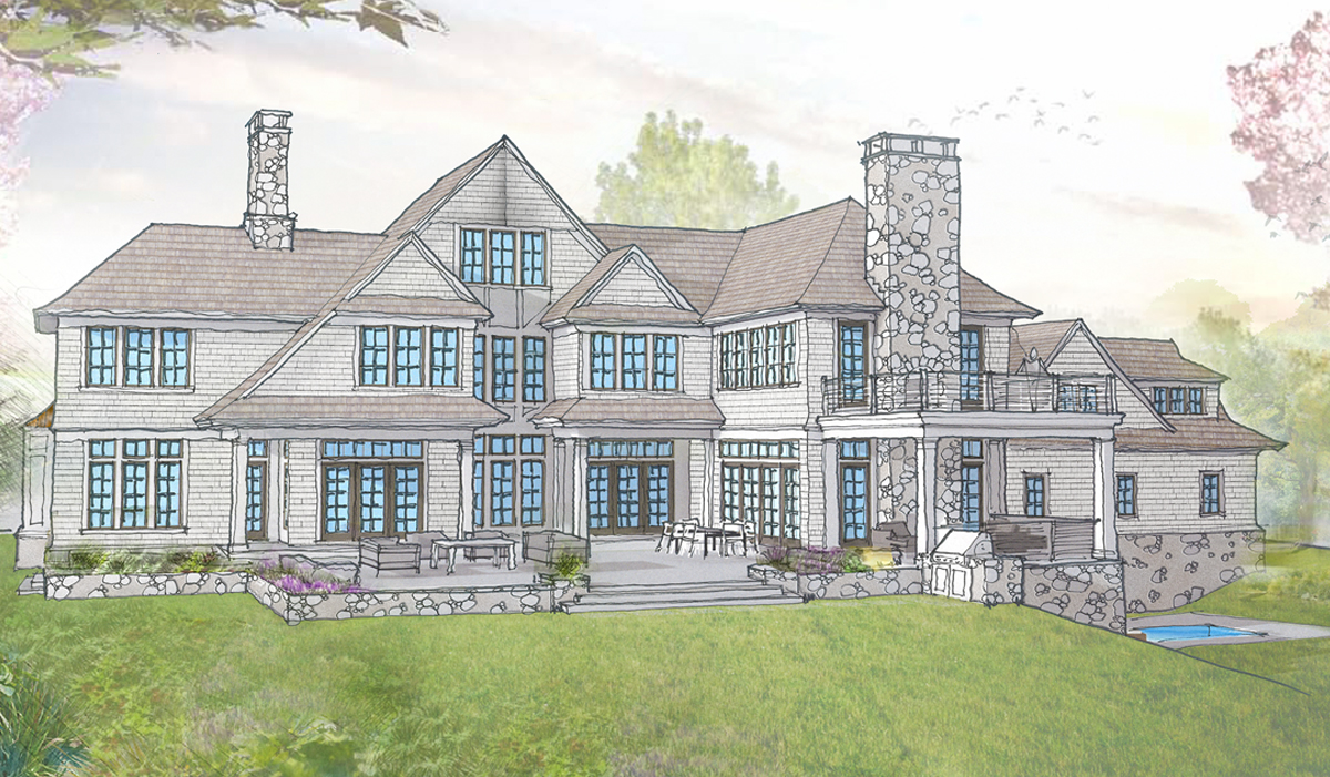 Rendering of Mill pond new home residence in Mamaroneck,NY Westchester county
