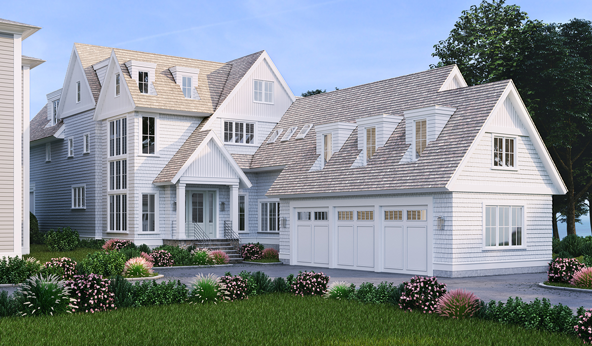 Waterfront Farm Bluff Avenue Farmhouse rendering of shingle style home in Rowayton Connecticut custom shingle style new construction home design