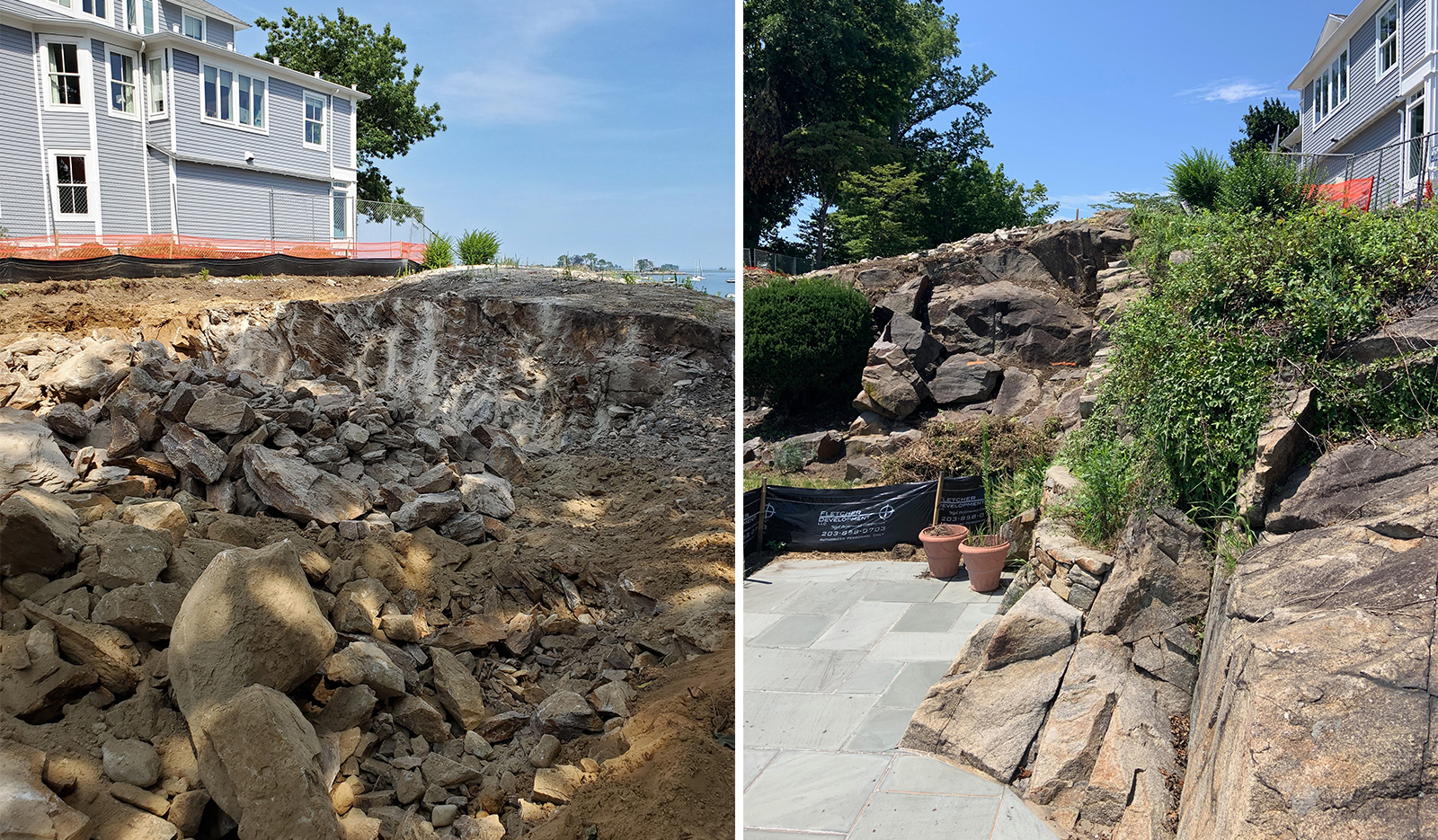 Bluff Avenue Rock Blasting at waterfront Rowayton,CT property custom home